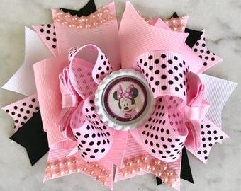 Minnie Mouse Hair Bows / Minnie Hair Bows / Minnie Mouse Party / Pink Minnie / Pink Hair Bows / Pink & Black Minnie Party / Hair Bows
