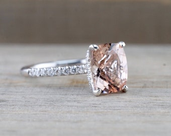 14kt White Gold Elongated Cushion Cut Morganite Under Halo Diamond Engagement Ring