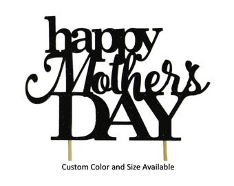 Happy Mother's Day Cake Topper, 1pc, Mother's Day, Glitter, Cake Decor, Handcrafted Party Decor, Party Supplies