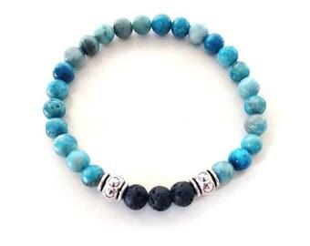 Blue Jasper Lava Bead Essential Oil Aromatherapy Yoga Relaxation Therapeutic Stretch Bracelet