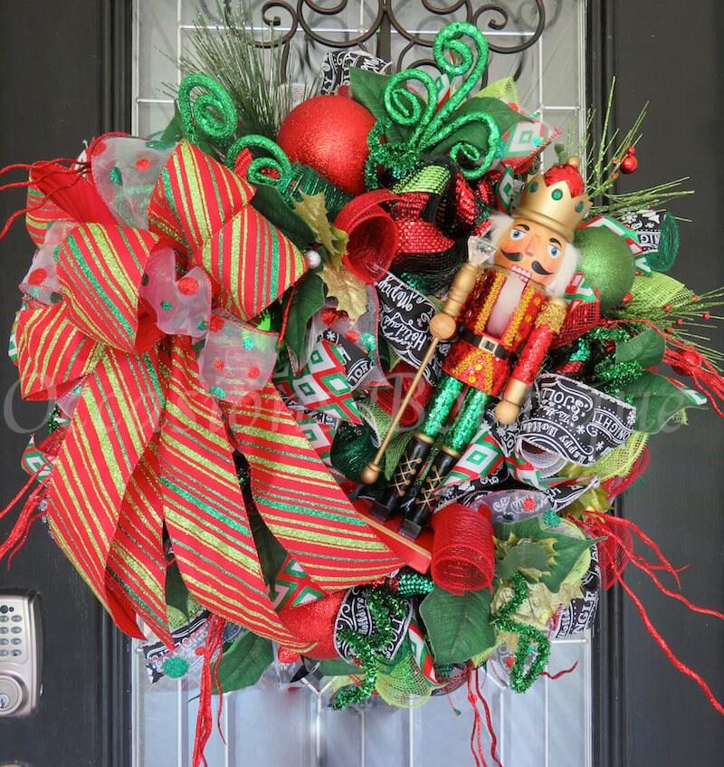 whimsical christmas wreath nutcracker wreath holiday wreath door hanger christmas decoration wreath for door front door wreath