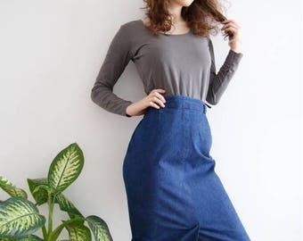 Vintage Medium Size Denim Skirt Dark Long Denim Skirt Midi Skirt High Waist Skirt Denim Pencil Skirt With Pockets Bodycon Skirt Size Large