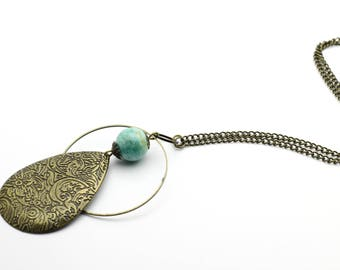 Blue Jade and brass drop necklace