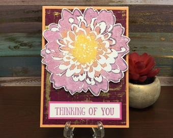 Handmade Card - Thinking of You Ombre Flower Card (blank inside)