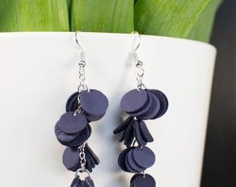 HILPU earrings - Dark violet reindeer leather cluster earrings - Dangle earrings - Handmade earrings