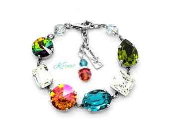 MIXED EMOTIONS Multi-Shape Bracelet Made With Swarovski Crystal *Pick Your Finish *Karnas Design Studio *Free Shipping