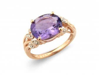 Amethyst & Diamond Birthstone Ring in 9ct Gold, February Birthstone