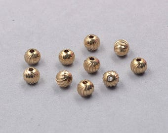 30Pcs, 8mm Raw Brass Beads , hole size 2mm , GY-PHZ102