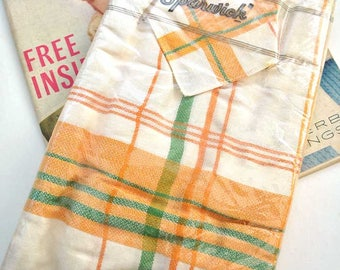 Vintage Unopened Orange, Green & White Rayon Tablecloth Set by Sparwick in Original Packaging