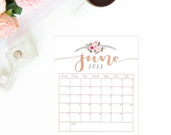 JUNE 2017 Printable, Rose Gold Calendar, Cute Calendar, Printable Calendars, June 2017 Calendar, June Printable