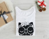 "Woman T-shirt  ""Miau""  screenprinted, white cotton t-shirt, white tee, cat t-shit, women's clothing, woman top, gift for her"