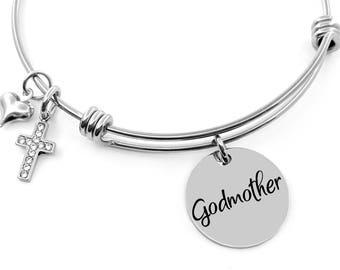 Godmother Bracelet - Godmother Gift - Baptism Jewelry - Confirmation - Communion Gift - Godmom Gift - Religious Jewelry - Best Godmother