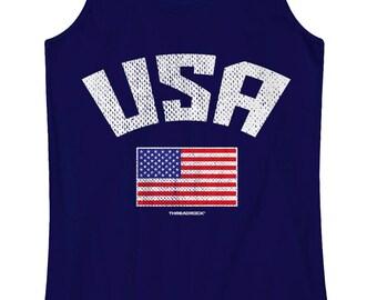 USA American Flag Women's Racerback Tank Top Proud America US Team National Pride