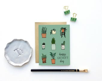 Dad Plant Card - Happy Father's Day - with Illustrated Potted Plants | Dad Card, Plants, Gardener, Daddy's Girl, First Father's Day,