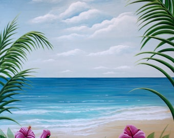 "Tropical View, Acrylic Painting, Giclee Canvas stretched on 2"" bars, Ready to Hang"