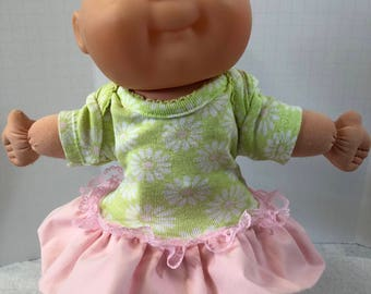 "Cabbage Patch NEWBORN 12 inch Doll Clothes, Pretty ""WHITE & Pink DAISIES"" Ruffle and Lace Trim Dress, 12 inch Newborn Cabbage Patch Clothes"
