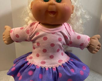 "Cabbage Patch 14 inch BABY or Smaller 14 inch Doll Clothes, Pink and Purple ""POLKA DOTS"" Sparkling Ruffle & Trim Dress,Cabbage Patch Clothes"