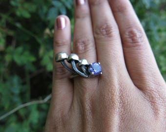 Size 5 Mushroom Patch and Amethyst Sterling Silver Ring