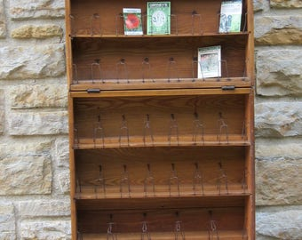LOCAL PICKUP / Antique Wood Seed Rack/ Wood Shelf/ Vintage Shelf/ Portable Rack/ Collectible Shelf/Seed Display/ Display Unit/ Garden