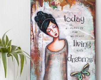 Wall Art Print - Whimsical Wall Art - Ready to Hang Art - Inspirational Art - Positive Wall Art - Mixed Media Art - Valentines Gift for Her