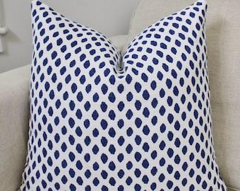 Blue Dotted Pillow Cover Decorative Throw Pillow, Accent Pillow, Toss Pillow 16 18 20 22 24 26 Euro