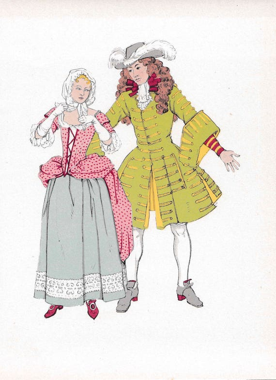 1940's print of 17th century man and woman in very fashionable outfits, wigs, flounces, frills, published 1940