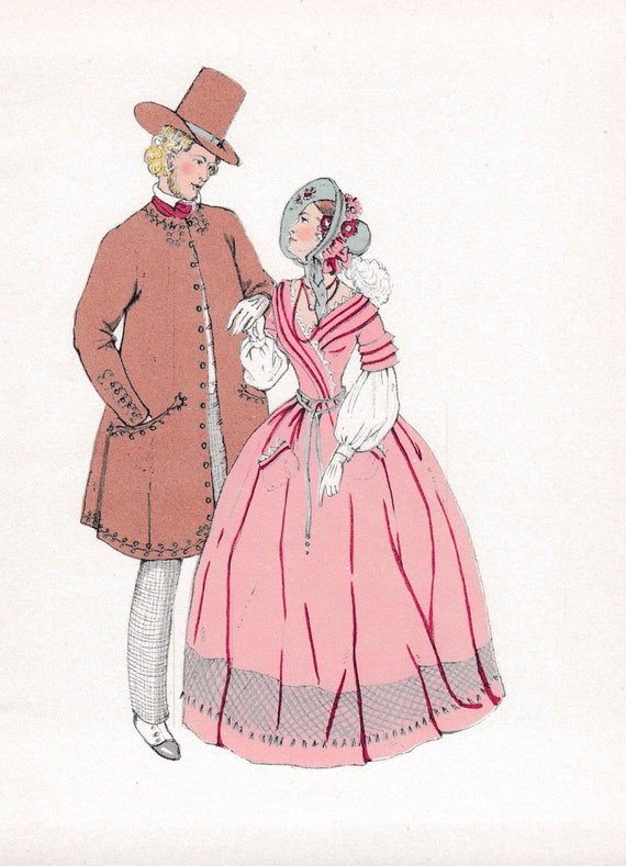 1940's print of early 19th century man and woman in very fashionable outfits with embroidery and feathers, published 1940