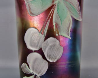Carnival Glass - Northwood Enameled CHERRIES Blue Straight-sided HP Tumbler