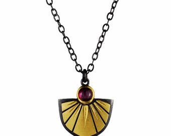 Garnet, 18k Gold, and Blackened Silver Saint Joan Shield Pendant