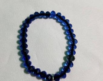 Blue Crystal Beaded Bracelet with Blue Crystal Charm