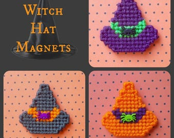 Plastic Canvas: Witch Hats Magnets (set of 4 witch hats)