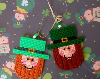 Plastic Canvas: Lucky Leprechaun Ornaments (set of 2)