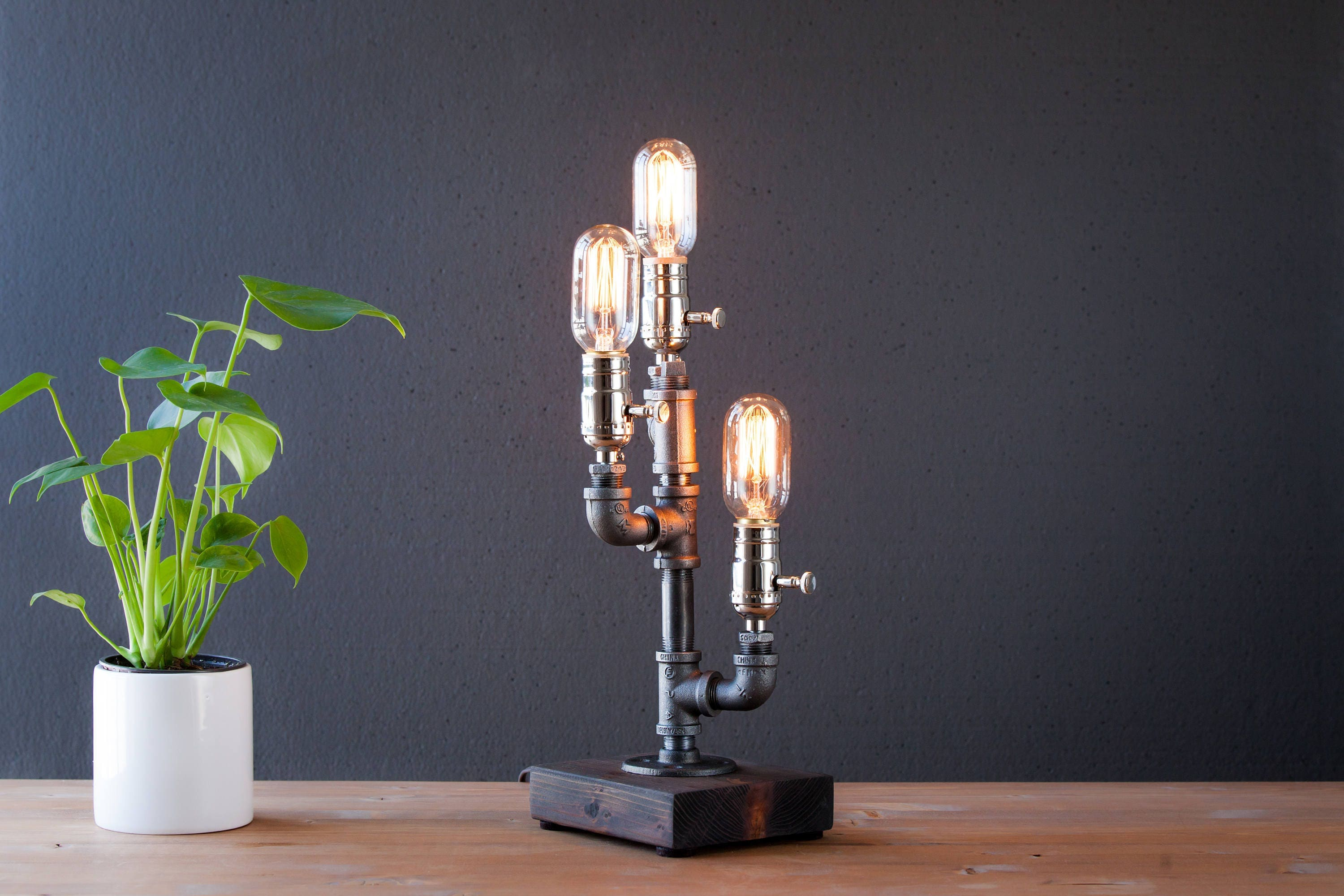 Steampunk lamp industrial lamp rustic home decor farmhouse for Industrial design table lamps