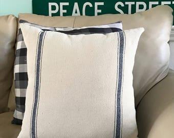 Grain sack pillow, Ticking Stripe pillow, Farmhouse pillow cover,