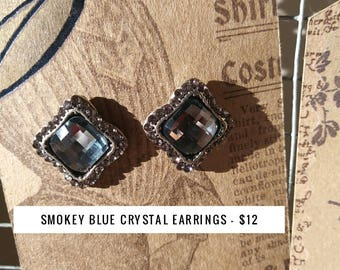 Smokey Blue Crystal Earrings
