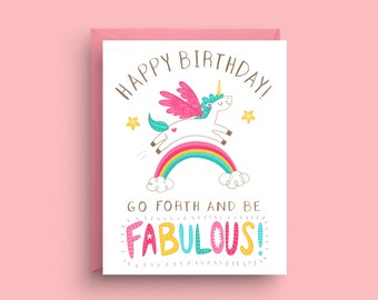 Unicorn Card, Birthday Card, Rainbow Card, Funny Unicorn Card, Funny Birthday Card, Birthday Card For Her, Birthday Card For Friend