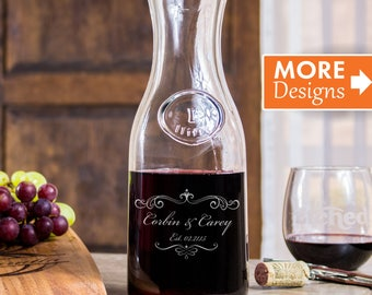 Bridal Shower Gift, Personalized Wine Decanter, 40th Anniversary Gift, Wine Carafe, Laser Etched Art, Glass Decanter, Engagement Gift