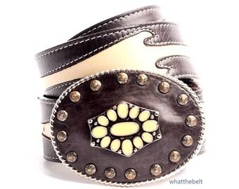 Vintage Belt STREETS AHEAD Brown Beige Two Tone Leather Western Buckle Belt Small