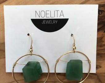 Green Quartz Cubes + Gold Circle Earrings | Gold Fill Ear Wires | Unique and Modern Earrings | Minimal Earrings
