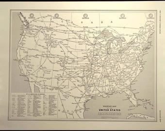Railroad Map Etsy - 1889 us railroad map