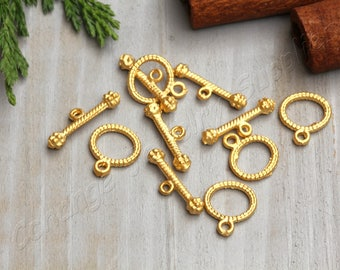 5 set Gold Toggle Clasps, 24k Matte Gold Plated Toggle Clasp, Clasps Findings, Gold Findings, Gold Toggle Clasps / GPS-215