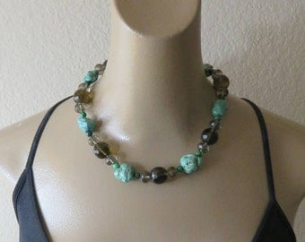 Vintage Turquoise Smoky Quartz Stone Sterling  Necklace.