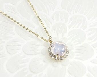 Collier pendentif de mariage, Pendentif mariage cristal rose opal, collier bijoux mariage, bijoux intemporels, bijoux témoins demoiselles