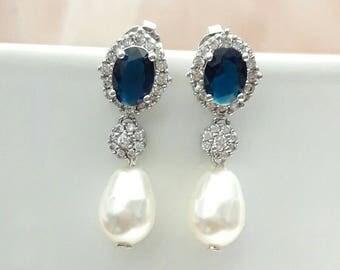 Boucles d'oreilles mariage perles gouttes, boucles d'oreilles strass, bijoux mariage cristal, boucles d'oreilles mariées zircons