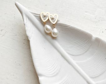 Gold heart pearl drop earrings, Tear drop pearl earrings, Bridal jewelry