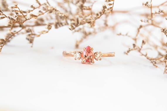 Chatham champagne sapphire pear moissanite and 14k gold twig engagement ring, pear sapphire engagement ring, three stone engagement ring