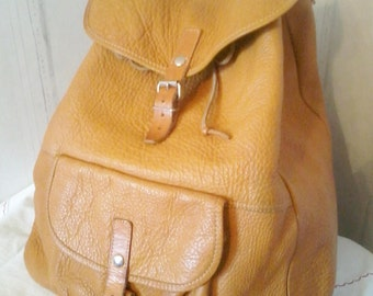 Big mixed backpack all soft leather honey color