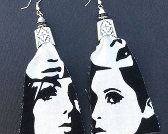 Handmade Fabric Earrings, Mod, Abstract, Face, Fun, Festival, Boho, Gypsy, Statement, Retro, Punk, Art, Sexy (Hallow Mirror Earrings)