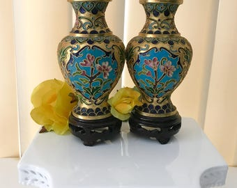 Chinese cloisonné vases set of two floral gold  handmade enameled brass vintage home decor ..........