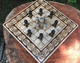 "Hnefatafl Game: ""Leprechaun Tafl"" variant, Strategic Wooden Board Game, Rustic Art, handcrafted & customizable - Viking Tafl - MADE TO ORDER"